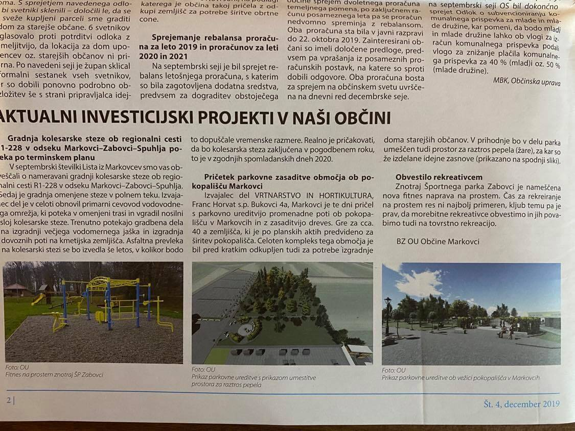Aktualni investicijski projekti v občini Markovci
